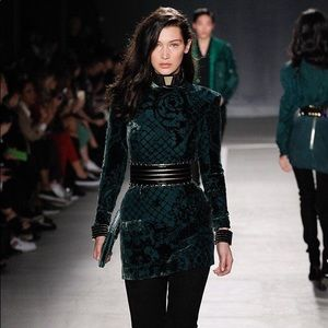 Balmain for H&M green velvet dress